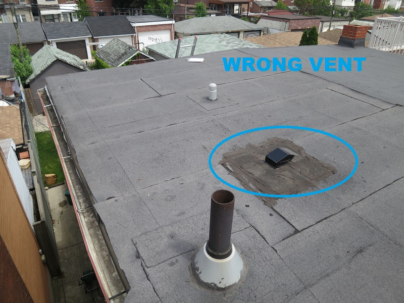 Toronto-Roofing-Flat-Roof-Incorrect-vent