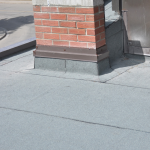 Toronto roofing flat roof modified bitumen soprema chimney flashing