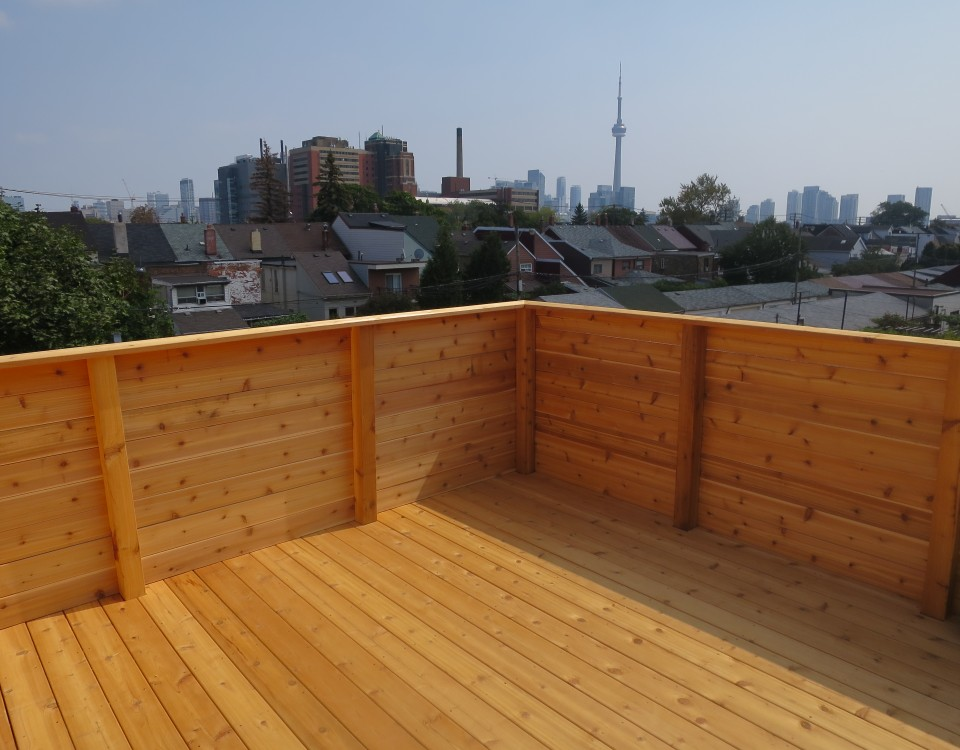 Toronto Roofing Deck rooftop carpentry construction wood cedar annex walkout installation patio flat roof decks