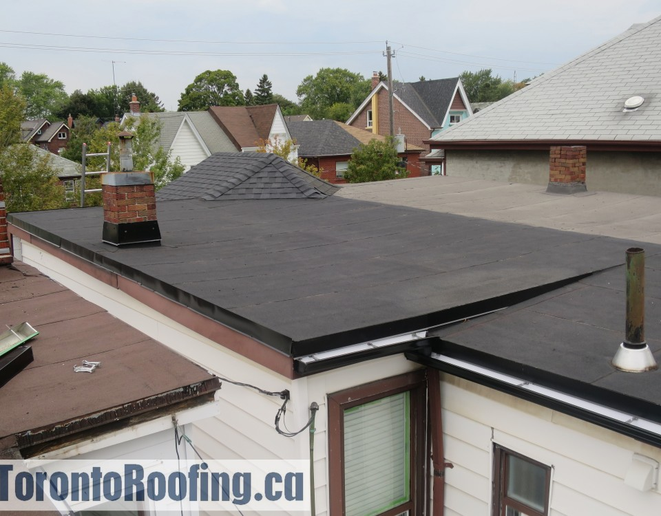 Toronto flat roofing rotted roof deck repair contractor sheathing pooling modified bitumen mod bit 2 ply polymer hot applied membranes soprema torch down