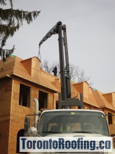Rooftop Drop Of Flat And Sloped Roofing Material On Custom